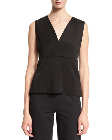 Donna Karan Sleeveless V-Neck Peplum Top, Black