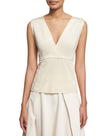 Donna Karan Sleeveless V-Neck Peplum Top, Ecru