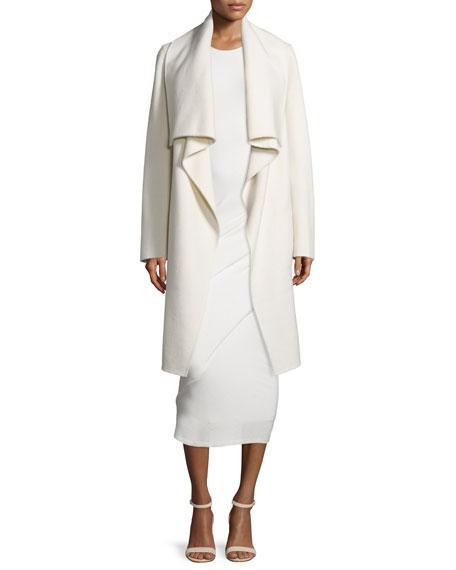Long-Sleeve Cashmere Clutch Coat, Ecru