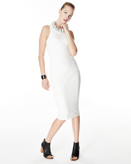 Donna Karan Sleeveless Ruched Midi Dress, Ivory