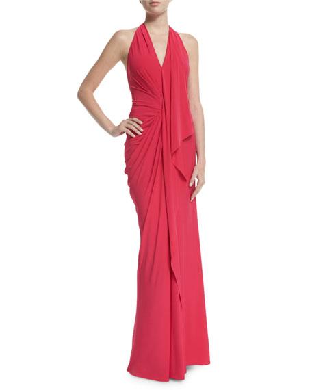 Donna Karan Halter-Neck Backless Evening Gown, Peony