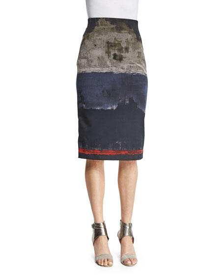 Donna Karan High-Waist Colorblock Pencil Skirt, Multi Colors