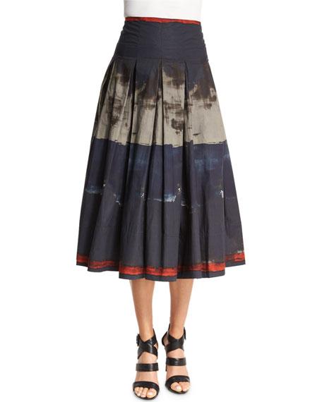 Donna Karan Pleated Brushstroke-Print Full Skirt, Multi Colors