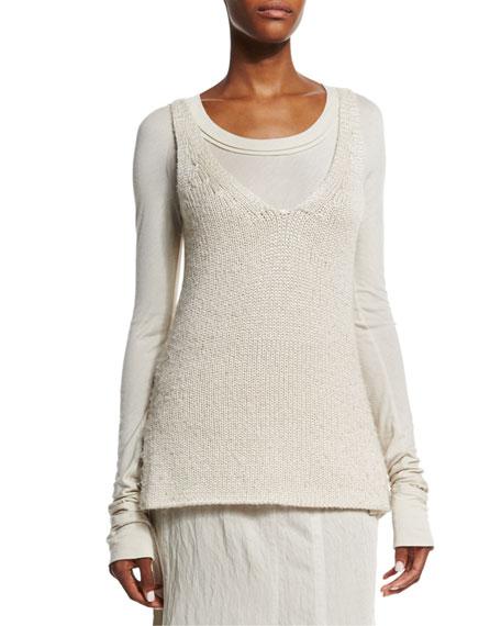 Donna Karan V-Neck Long Sweater Vest, Natural