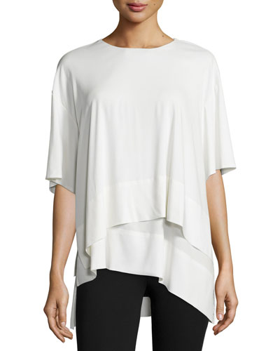 Short-Sleeve Layered Tunic, Ivory