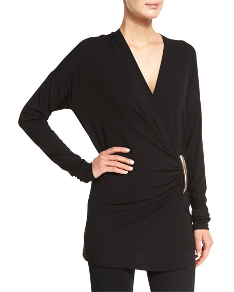 Donna Karan Long-Sleeve Wrap Top, Black