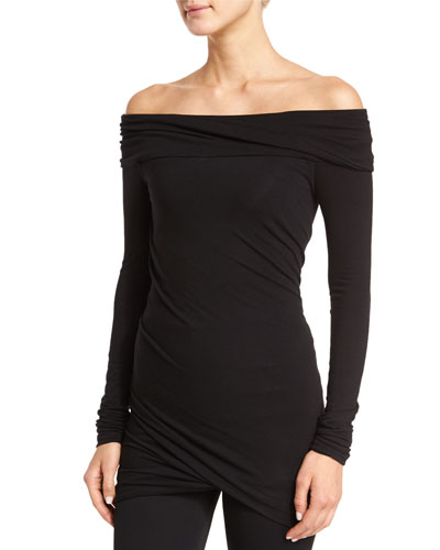 Off-The-Shoulder Twisted-Drape Tunic, Black