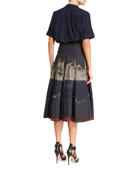 Rolled-Sleeve Camp Shirt, Dark Navy