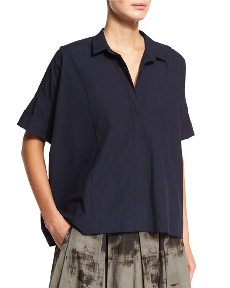 Donna Karan Rolled-Sleeve Camp Shirt, Dark Navy