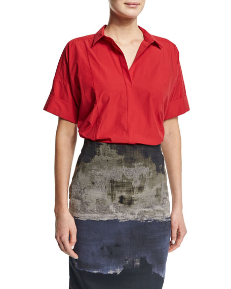 Donna Karan Short-Sleeve Camp Shirt, Lacquer
