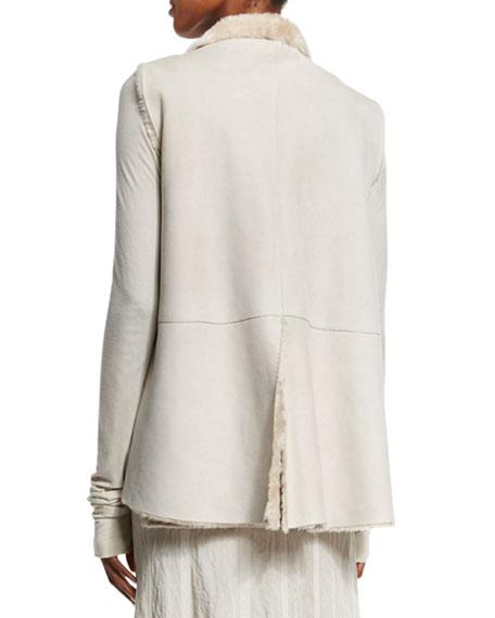 Shearling Fur A-Line Vest, Buff