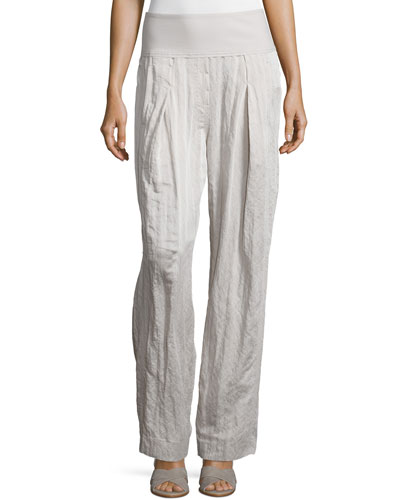 Pleated-Front Wide-Leg Pants, Natural