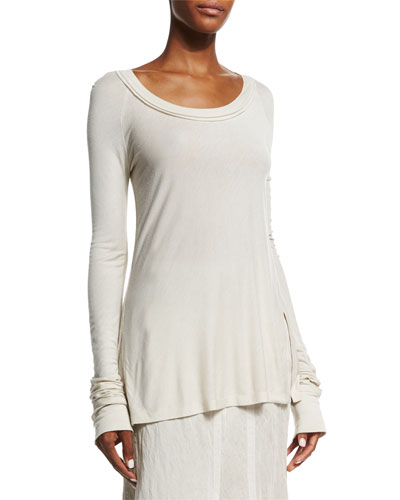 Donna Karan Long-Sleeve Round-Neck Top, Natural