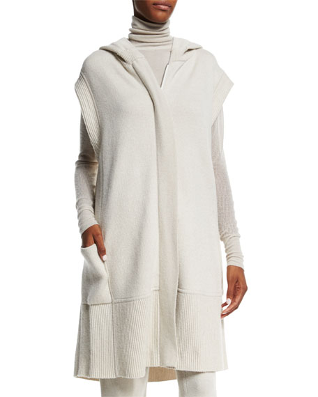 Donna Karan Hooded Zip-Front Long Vest, Natural