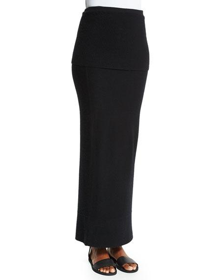 Donna Karan Ribbed-Top Long Cashmere Skirt, Black