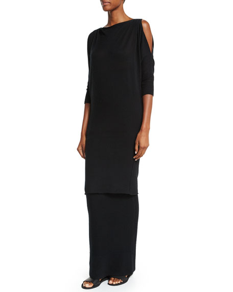 Donna Karan 3/4-Sleeve Convertible Long Cashmere Tunic, Black
