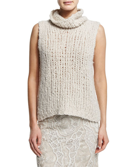Donna Karan Sleeveless Cashmere Sweater, Natural