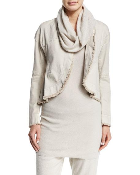 Donna Karan Long-Sleeve Raw-Edge Short Jacket, Natural