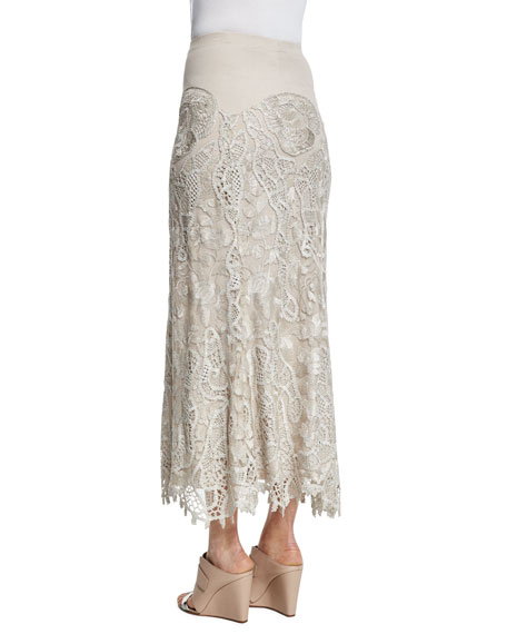 Slim-Fit Lace Combo Midi Skirt, Natural