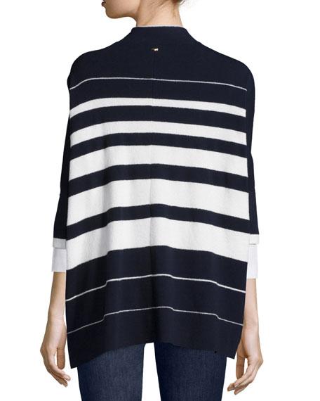 Half-Sleeve Striped Cape Cardigan, Navy