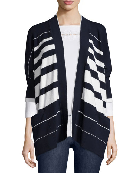 Half-Sleeve Striped Cape Cardigan, Navy