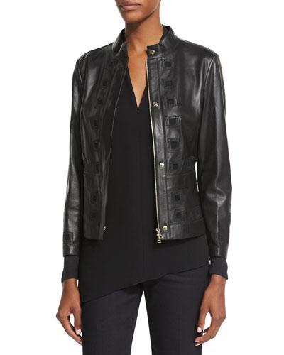 Laser-Cut Leather Jacket, Black