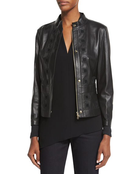 EscadaLaser-Cut Leather Jacket, Black
