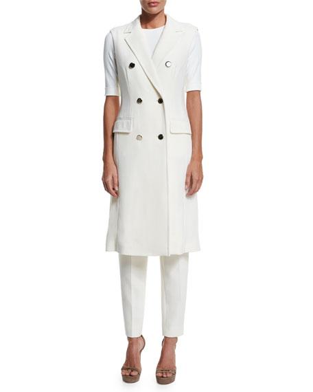 Escada Double-Breasted Sleeveless Long Jacket, Off White