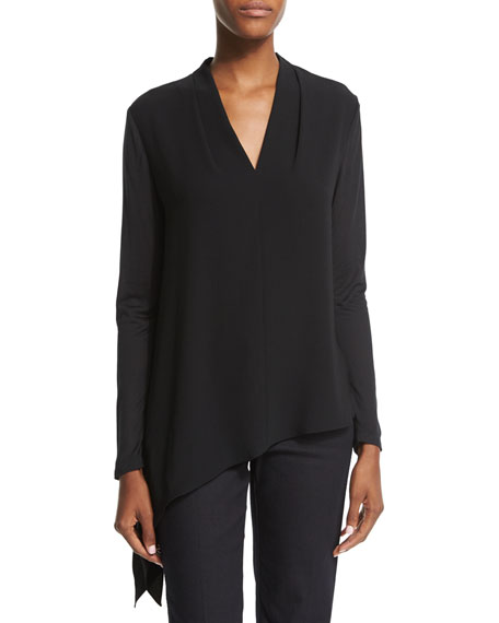 Escada Long-Sleeve Asymmetric-Hem Blouse, Black