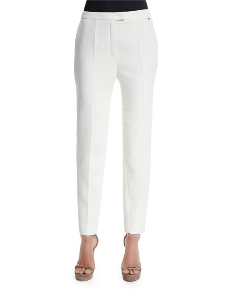 Escada Talarant Slim-Leg Ankle Pants, Off White