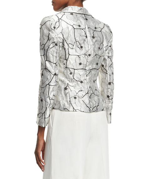 One-Button Floral Jacket, Off White