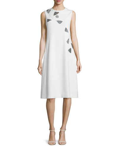 Sleeveless Embellished Caldor Dress, Off White