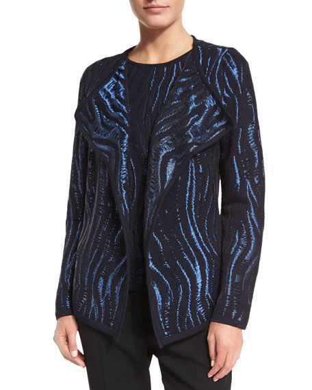 Escada Open-Front Wave Intarsia Cardigan, Navy