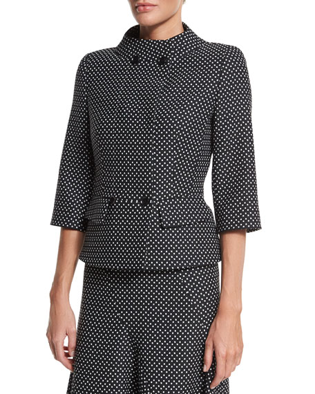Escada Double-Breasted Dot-Print Jacket, Black