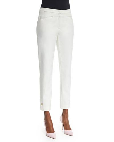 Slim-Leg Cropped Pants, Off White