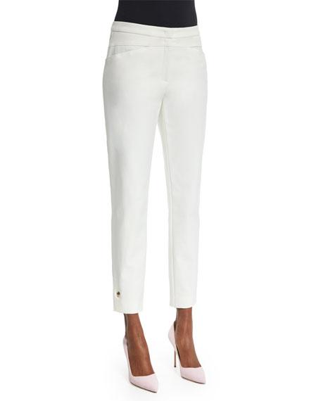Escada Slim-Leg Cropped Pants, Off White