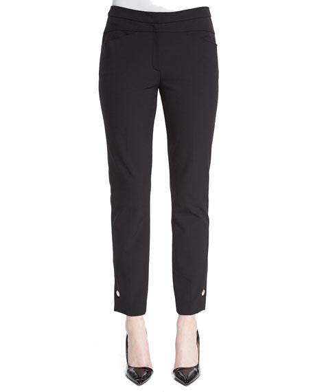 Escada Grommet-Snap Cropped Pants, Black