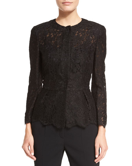 Escada Swiss-Lace Peplum Jacket, Black