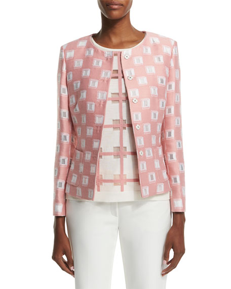 Escada Long-Sleeve Snap-Front Jacket, Rosehip
