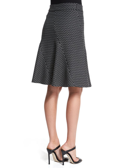 Dot-Print Trumpet Skirt, Black