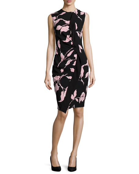Escada Sleeveless French-Rose-Print Sheath Dress, Black/Rose