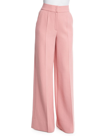 Escada 3/4-Sleeve Jewel-Neck Top & High-Waist Wide-Leg Trousers