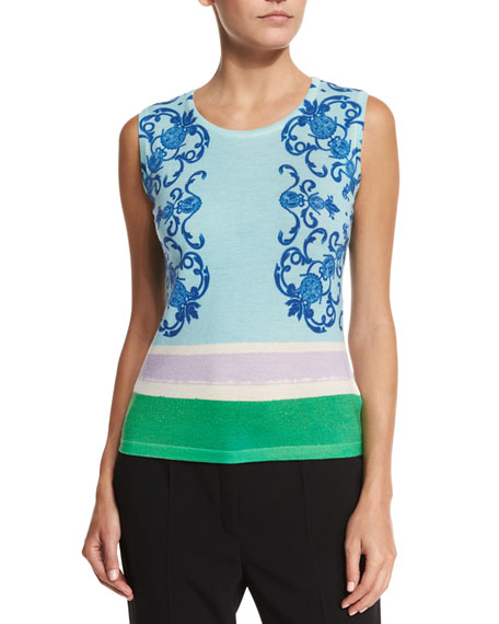 Escada Acanthus Place Print Tank, Off White/Multi Colors