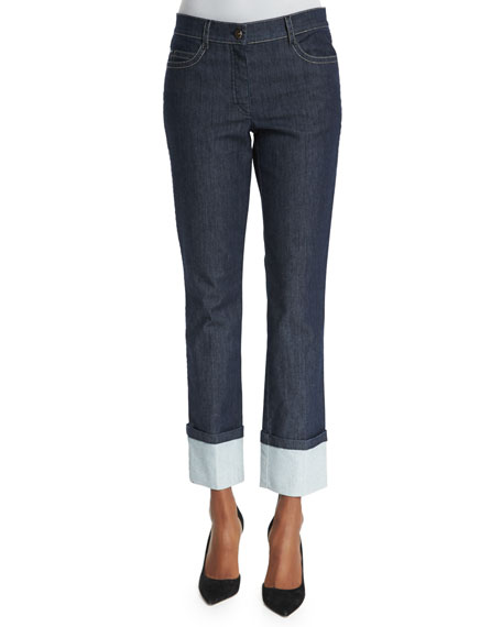 Escada New Thermal Mid-Rise Straight-Leg Cuffed Jeans, Navy