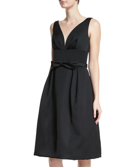 Escada Sleeveless Bow-Detail Dress, Black