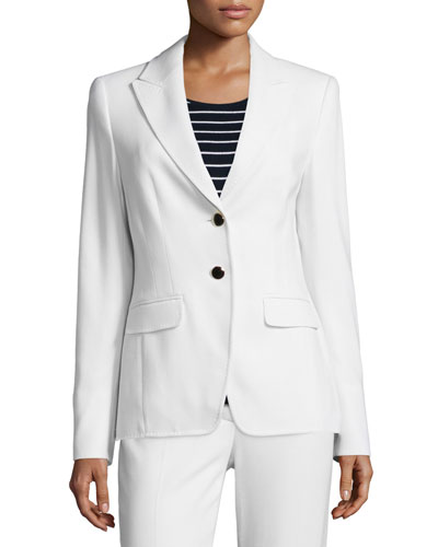 Long-Sleeve Two-Button Blazer, Off White