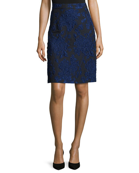Escada Floral-Print A-Line Skirt, Navy/Black