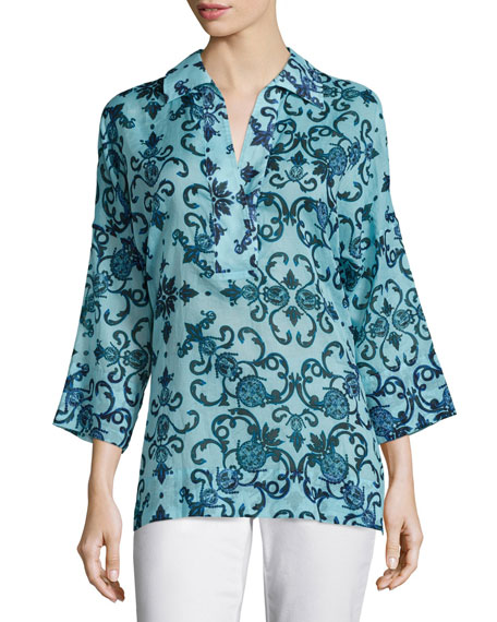 Escada 3/4-Sleeve Printed Tunic, Multi Colors