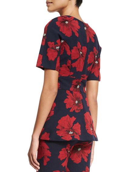 Short-Sleeve Floral-Print Peplum Top, Navy/Poppy