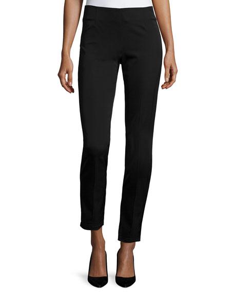 Lela Rose Catherine Slim-Leg Ankle Pants, Black